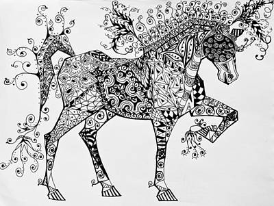 Animals Drawings - Zentangle Circus Horse by Jani Freimann