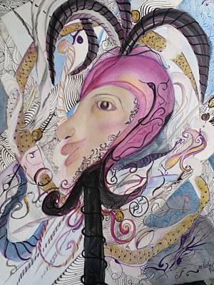 Jester Mixed Media - Zentangle Jester by Marian Hebert