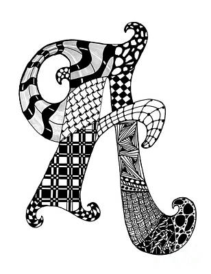 Drawing - Letter A Monogram In Black And White by Nan Wright