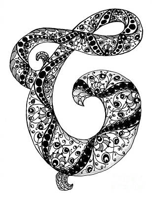 Drawing - Letter C Monogram In Black And White by Nan Wright