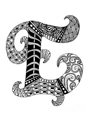 Drawing - Letter E Monogram In Black And White by Nan Wright