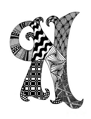 Drawing - Letter N Monogram In Black And White by Nan Wright