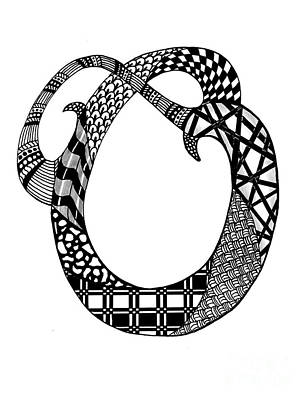 Drawing - Letter O Monogram In Black And White by Nan Wright