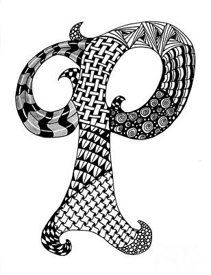 Drawing - Letter P Monogram In Black And White by Nan Wright