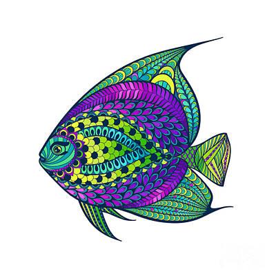 Aquatic Wall Art - Digital Art - Zentangle Stylized Fish With Abstract by Avokishvok