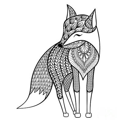 Tribal Wall Art - Digital Art - Zentangle Vector Happy Fox For Adult by Panki