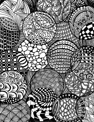 Drawing - Vertical Ornamental Balls In Black And White by Nan Wright