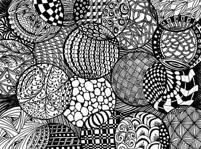 Drawing - Ornamental Balls In Black And White by Nan Wright