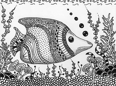 Zentangled Fish -- Just Cruisin... Art Print