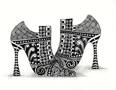 Drawing - Zanny Shoes In Black And White by Nan Wright