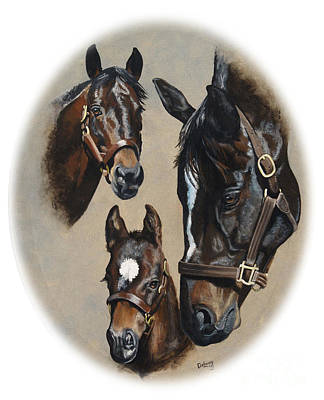 Painting - Bernardini  Zenyatta And Cozmic One by Pat DeLong