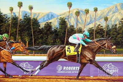 Horse Sport Painting - Zenyatta Winning The 2009 Breeders' Cup Classic by Tom Chapman