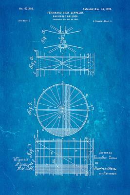 1899 Photograph - Zeppelin Navigable Balloon Patent Art 2 1899 Blueprint by Ian Monk