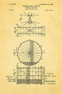 1899 Photograph - Zeppelin Navigable Balloon Patent Art 2 1899 by Ian Monk