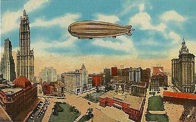 Painting - Zeppelin Over N Y City Hall by Dwight Goss