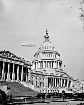 Photograph - Zeppelin Over The Capitol by Benjamin Yeager