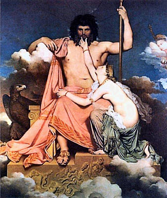 Zeus Painting - Zeus And Thetis  by Jean Auguste Dominique Ingres