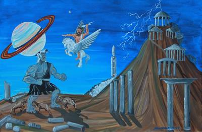 Olympus Painting - Zeus Versus The Titans by Mike Nahorniak