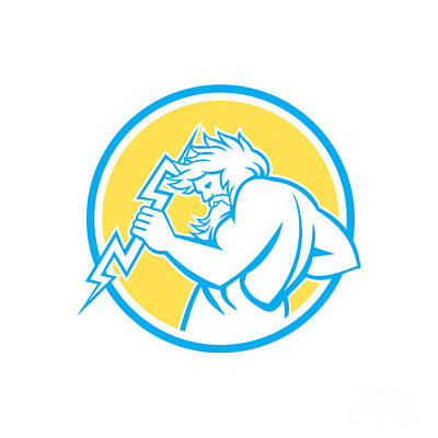 Zeus Wielding Thunderbolt Circle Retro Art Print