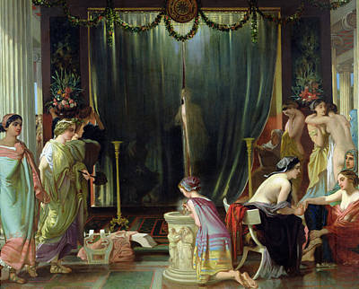 Concubine. Harem Girl Painting - Zeuxis Choosing A Model For Helen by Victor Mottez