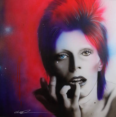 Celebrity Portraits Painting - David Bowie - ' Ziggy Stardust ' by Christian Chapman