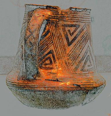 Anasazi Digital Art - Zigzag Mug With Handle by David Lee Thompson
