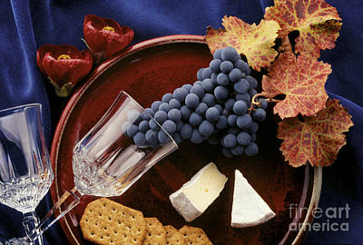 Photograph - Zinfandel Grapes Brie And Crackers by Craig Lovell