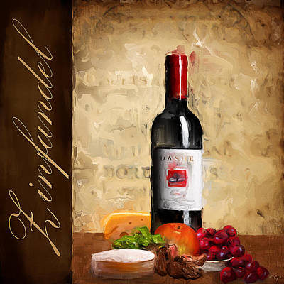 Cabernet Wine Painting - Zinfandel IIi by Lourry Legarde