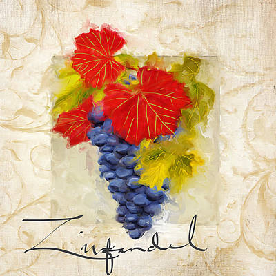 Chardonnay Wine Painting - Zinfandel by Lourry Legarde