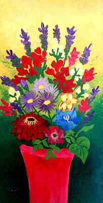 Zinnia And Asters Original by Nikki Dalton