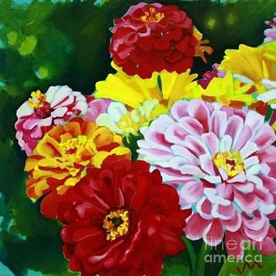 Zinnia Painting - Zinnia Bouquet by Jayne Morgan