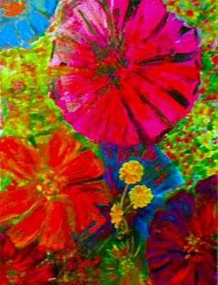 Zinnia Garden Art Print by Anne Hamilton