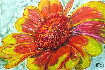 Ceramic Art Tile Painting - Zinnia In Bloom by Anupama Arora Mallik