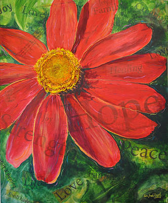 Painting - Zinnia Of Hope by Lisa Fiedler Jaworski