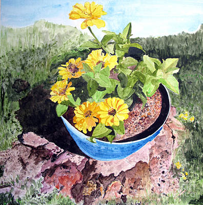 Painting - Zinnia On A Tree Stump by Sandy McIntire