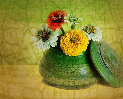 Glazed Pottery Photograph - Zinnia Still Life by Nikolyn McDonald