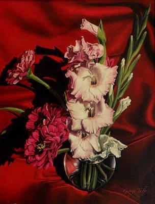 Painting - Zinnias And Gladiolas by George Tuffy