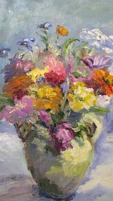 Zinnias And Wildflowers Still Life Art Print