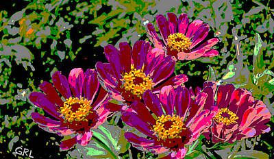 Painting - Zinnias II Florida Contemporayary Digital Art by G Linsenmayer