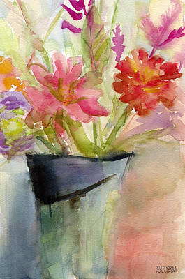 Coral Painting - Zinnias In A Vase Watercolor Paintings Of Flowers by Beverly Brown