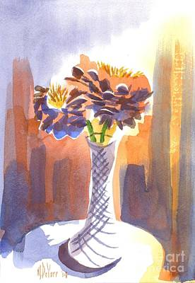 Stillife Painting - Zinnias In Sunshine by Kip DeVore