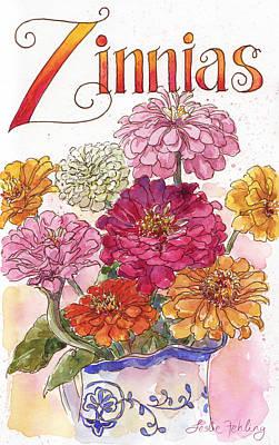 Zinnia Painting - Zinnias by Leslie Fehling
