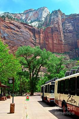 Photograph - Zion Bus Stop by Third Eye Perspectives Photographic Fine Art