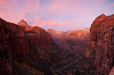 Zion Canyon At Sunset, Zion National Art Print by Panoramic Images