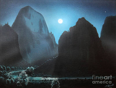 Park Scene Painting - Full Moon  Zion by Jerry Bokowski