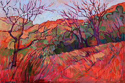 Zion Park Painting - Zion Flame by Erin Hanson