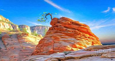Painting - Zion National Park Rock Formation With Pine Tree  by Liane Wright