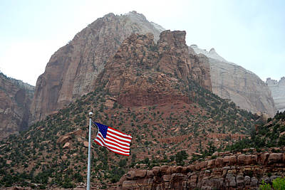 Photograph - Zion National Park Us Flag by rd Erickson