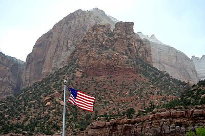 Photograph - Zion National Park Us Flag by rd Erickson