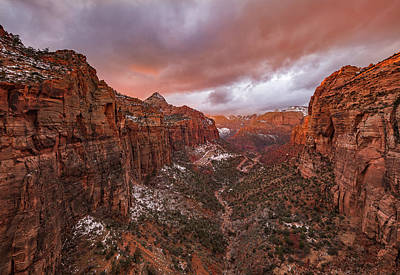 Valley Wall Art - Photograph - Zion Np -- Overlook Sunset by April Xie